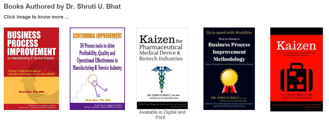 shruti bhat, shruti bhat books, kaizen, lean six sigma, business process improvement